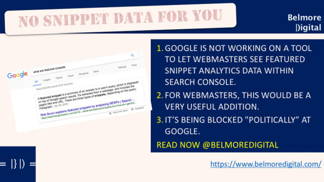 No Featured Snippet Data Google Search Console