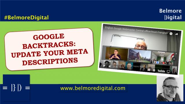 Google Backtracks - Update Your Meta Descriptions
