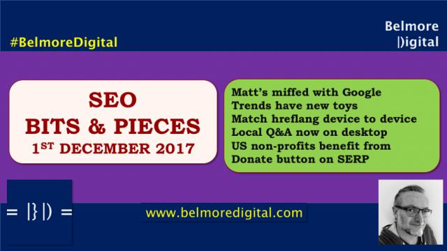 SEO Bits Pieces 1st December 2017
